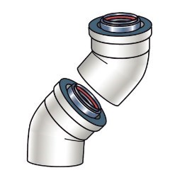 ELBOW VENT PIPE 45 DEGREE RINNAI (1 = 1 box = 2 pieces)