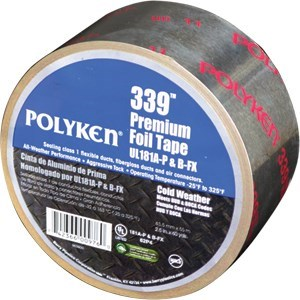 """TAPE PRINTED FOIL 2-1/2""""x180' UL 181 POLYKEN (16)"""