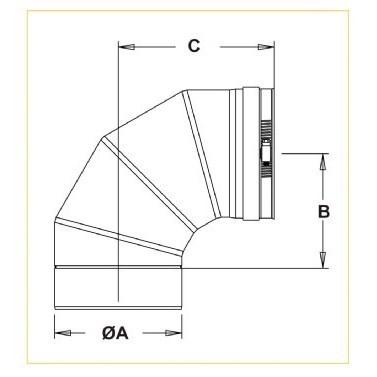 ELBOW 90 DEGREE 3in Z FLEX (6), item number: 3ZV90
