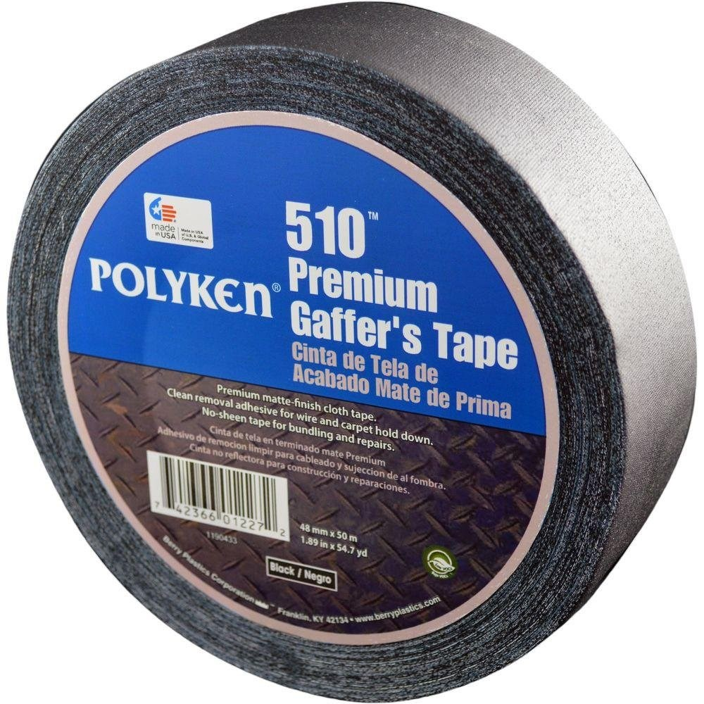 TAPE BLACK LOW GLOSS 2inx165ft POLYKEN (24), item number: 510-2