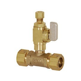 TEE COPPER COMPRESSION BALL VALVE ADD A LINE 1/2inx1/2inx1/4in, item number: 601-20CV