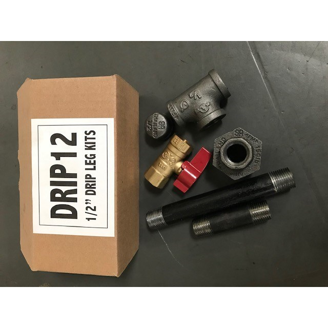 DRIP LEG KIT 1/2in WITH GAS VALVE & UNION, item number: DRIP12