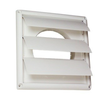 HOOD VENT PLASTIC LOUVERED 6in WHITE DEFLECTO (12), item number: HS6W