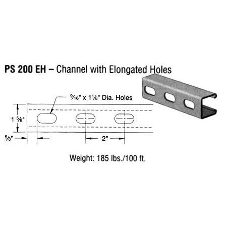 CHANNEL PREGALVANIZED 12 ga 20ft 1-1/2in STRUT (25), item number: PS200EH-20