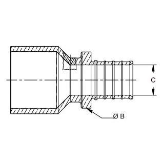 ADAPTER 2in EVERLOC X 2in C -M OR 1-1/2in C (F) REHAU (5), item number: 235967-101