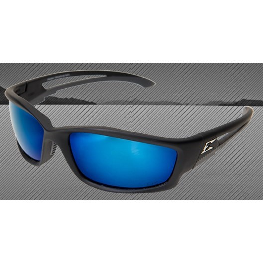 GLASSES BLACK FRAME POLARIZED BLUE MIRROR LENS KAZBEK EDGE